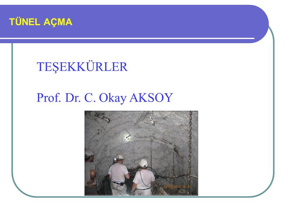 TÜNEL AÇMA TEŞEKKÜRLER Prof. Dr. C. Okay AKSOY