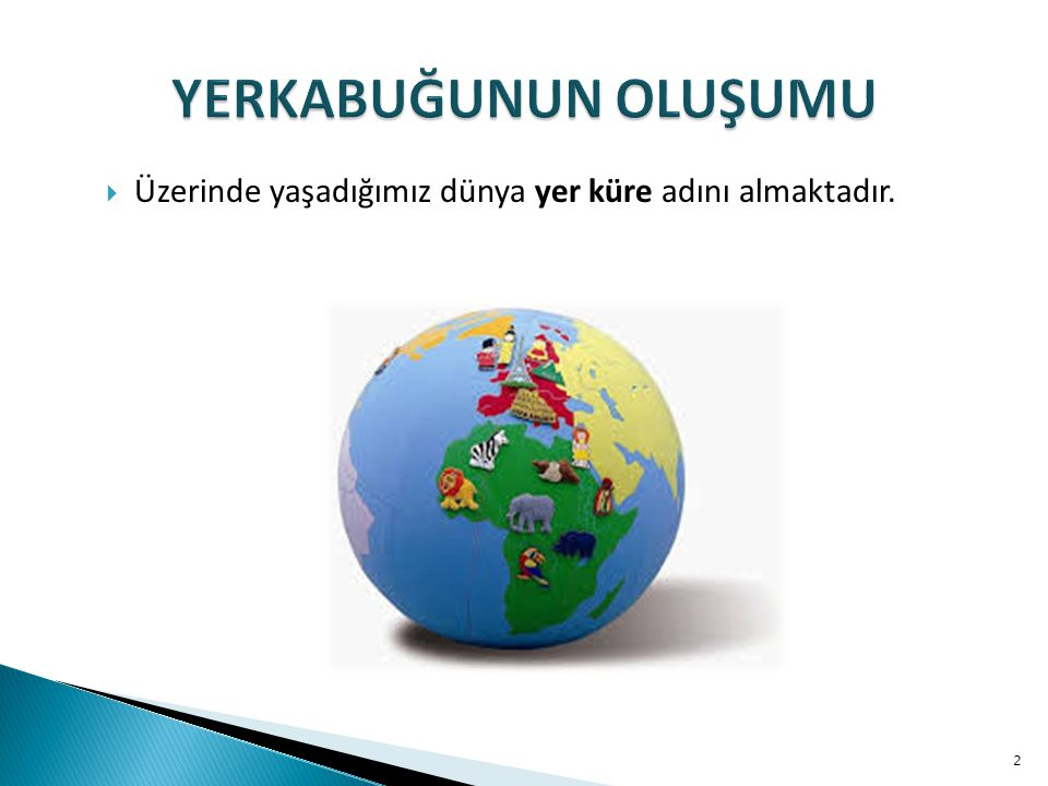 YERKABUĞUNUN OLUŞUMU Üzerinde yaşadığımız dünya yer küre adını almaktadır.