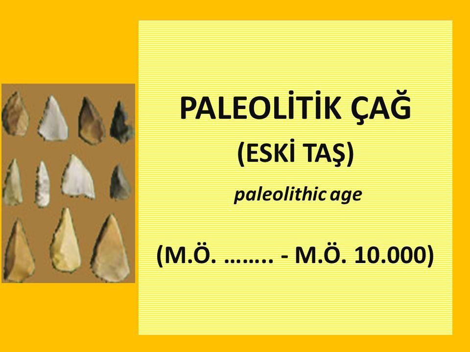 PALEOLİTİK ÇAĞ (ESKİ TAŞ) paleolithic age (M.Ö. …….. - M.Ö. 10.000)