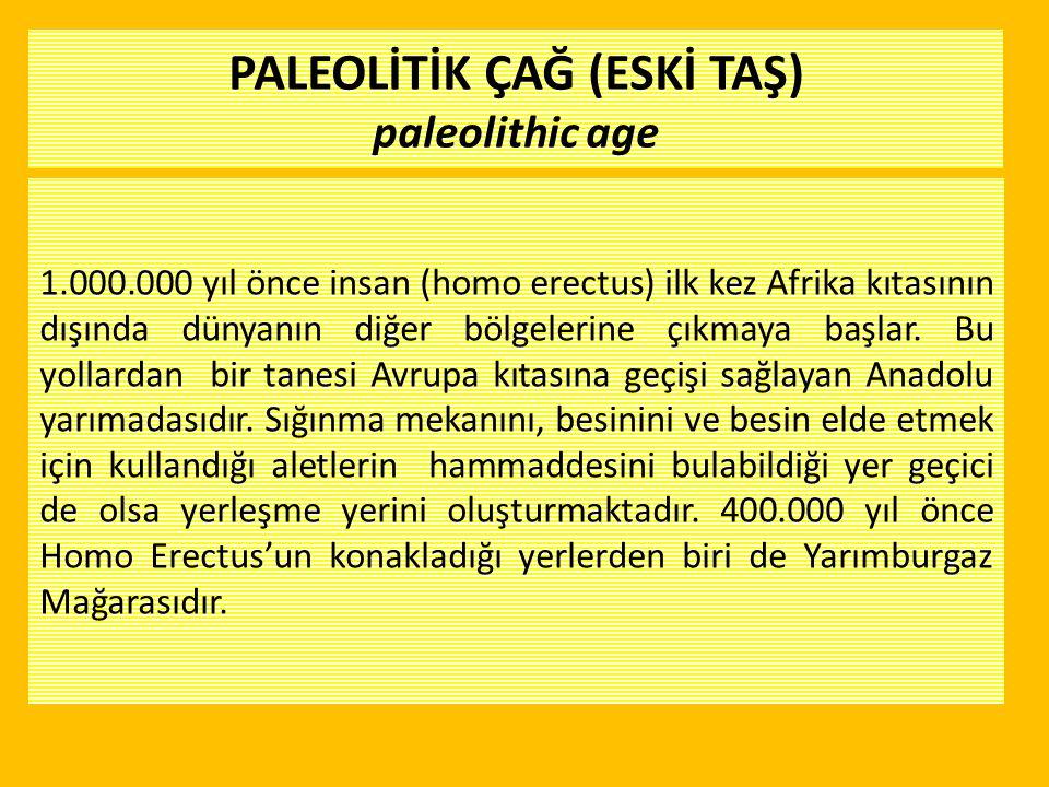 PALEOLİTİK ÇAĞ (ESKİ TAŞ) paleolithic age