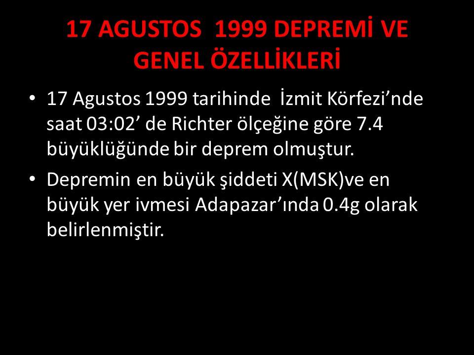 17 AGUSTOS 1999 DEPREMİ VE GENEL ÖZELLİKLERİ