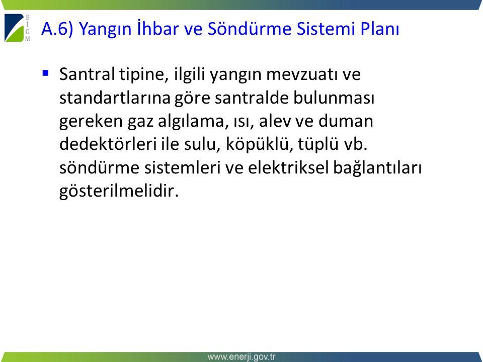 A.6) Yangın İhbar ve Söndürme Sistemi Planı