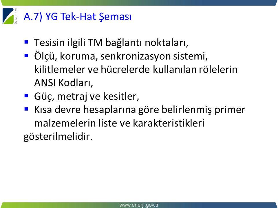 A.7) YG Tek-Hat Şeması Tesisin ilgili TM bağlantı noktaları,