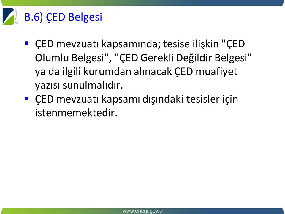 B.6) ÇED Belgesi