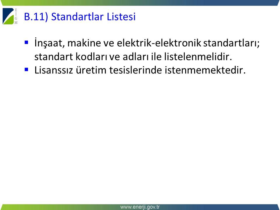 B.11) Standartlar Listesi