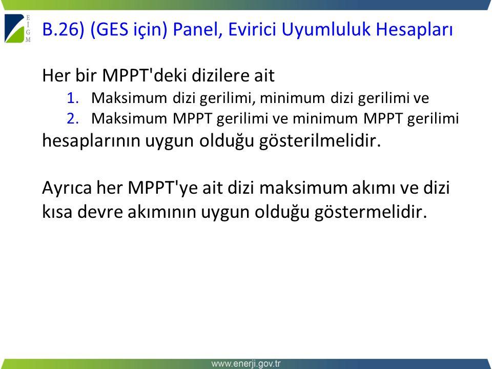 B.26) (GES için) Panel, Evirici Uyumluluk Hesapları
