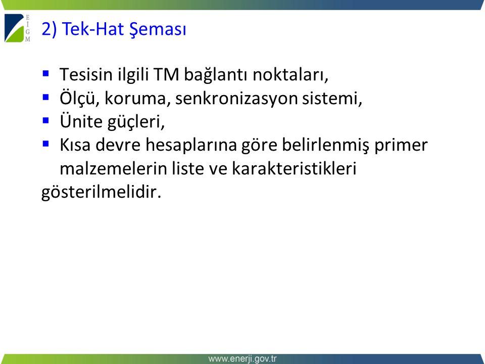 2) Tek-Hat Şeması Tesisin ilgili TM bağlantı noktaları,