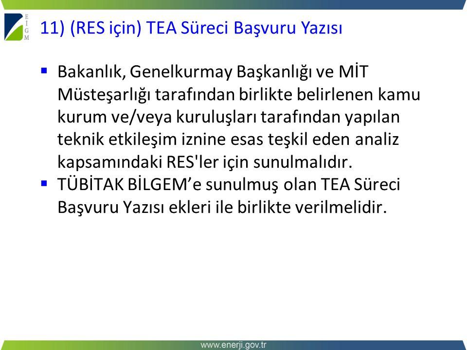11) (RES için) TEA Süreci Başvuru Yazısı