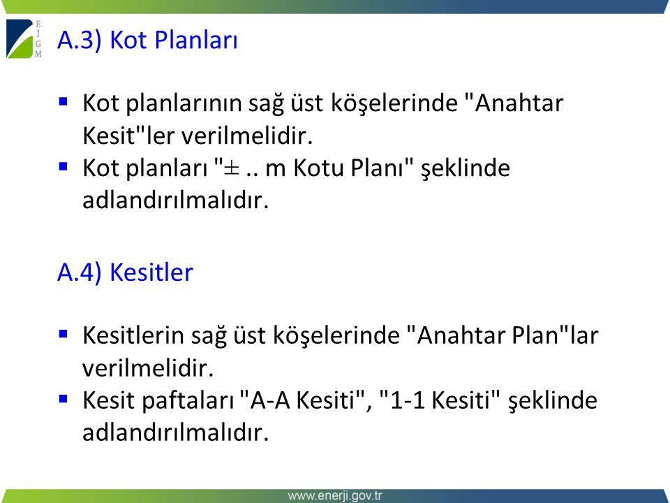 A.3) Kot Planları A.4) Kesitler
