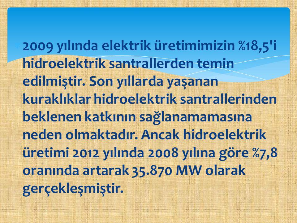 2009 yılında elektrik üretimimizin %18,5 i hidroelektrik santrallerden temin edilmiştir.