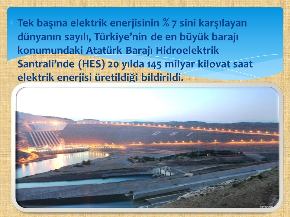 Tek başına elektrik enerjisinin % 7 sini karşılayan dünyanın sayılı, Türkiye'nin de en büyük barajı konumundaki Atatürk Barajı Hidroelektrik Santrali'nde (HES) 20 yılda 145 milyar kilovat saat elektrik enerjisi üretildiği bildirildi.