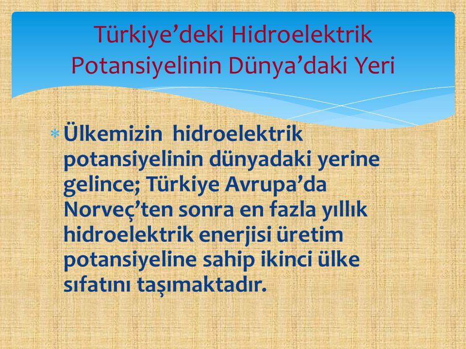 Türkiye'deki Hidroelektrik Potansiyelinin Dünya'daki Yeri