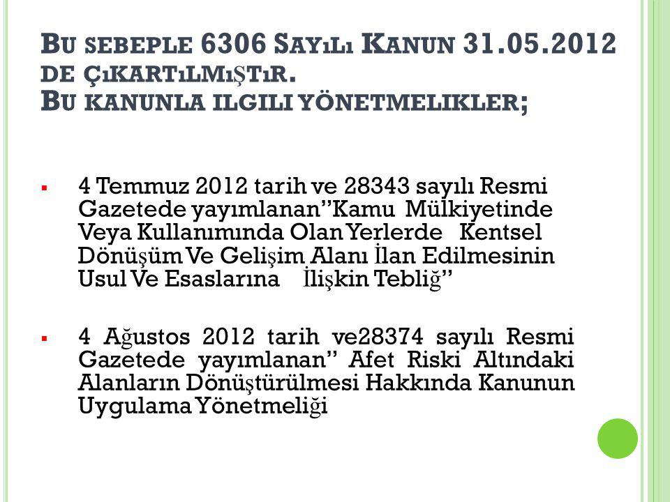 Bu sebeple 6306 Sayılı Kanun 31. 05. 2012 de çıkartılmıştır