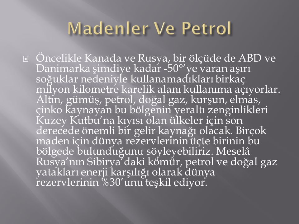 Madenler Ve Petrol