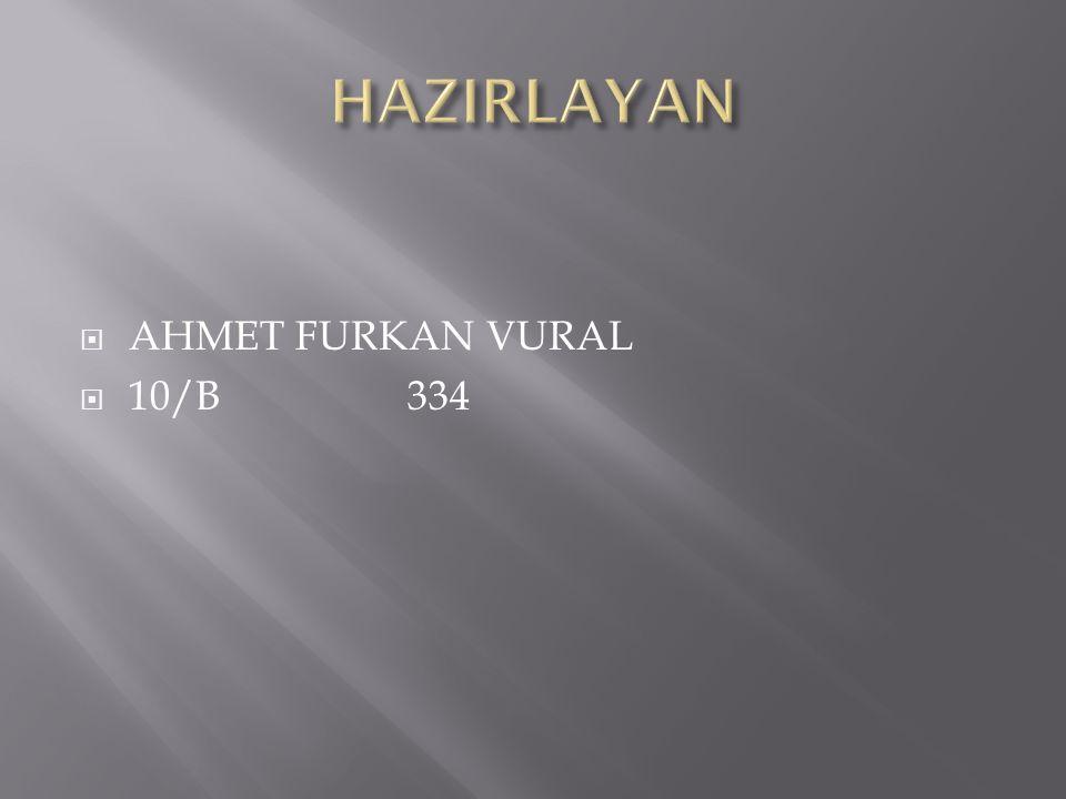 HAZIRLAYAN AHMET FURKAN VURAL 10/B 334
