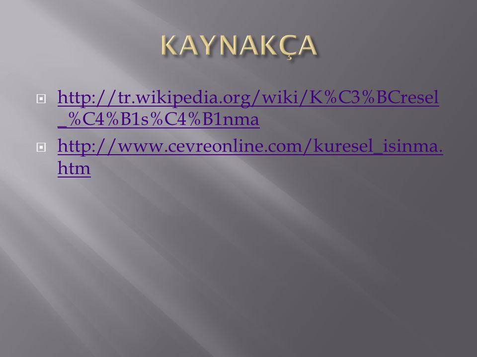 KAYNAKÇA http://tr.wikipedia.org/wiki/K%C3%BCresel_%C4%B1s%C4%B1nma