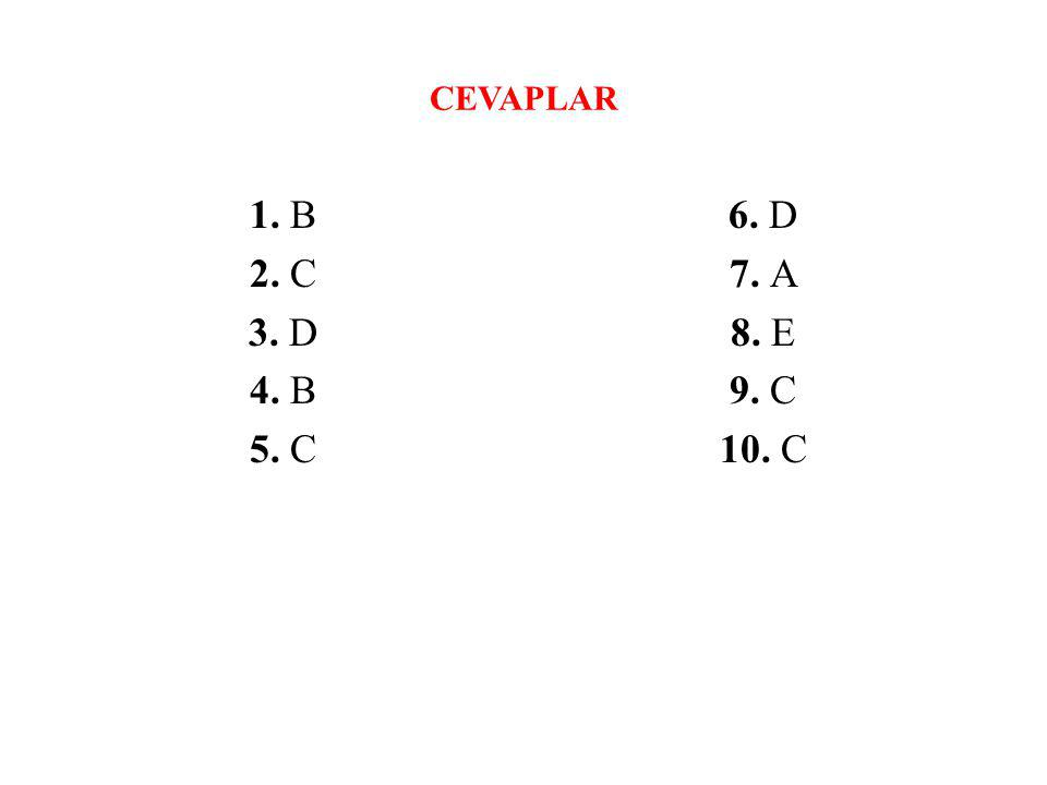 CEVAPLAR 1. B 2. C 3. D 4. B 5. C 6. D 7. A 8. E 9. C 10. C