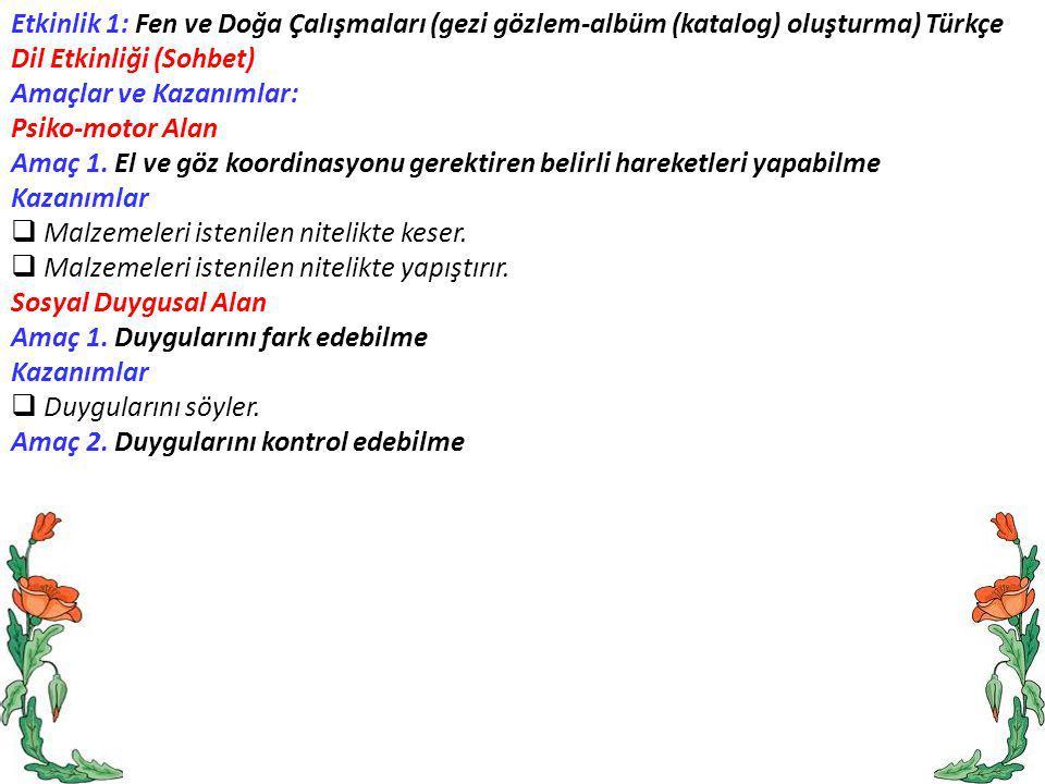 Etkinlik 1: Fen ve Doğa Çalışmaları (gezi gözlem-albüm (katalog) oluşturma) Türkçe