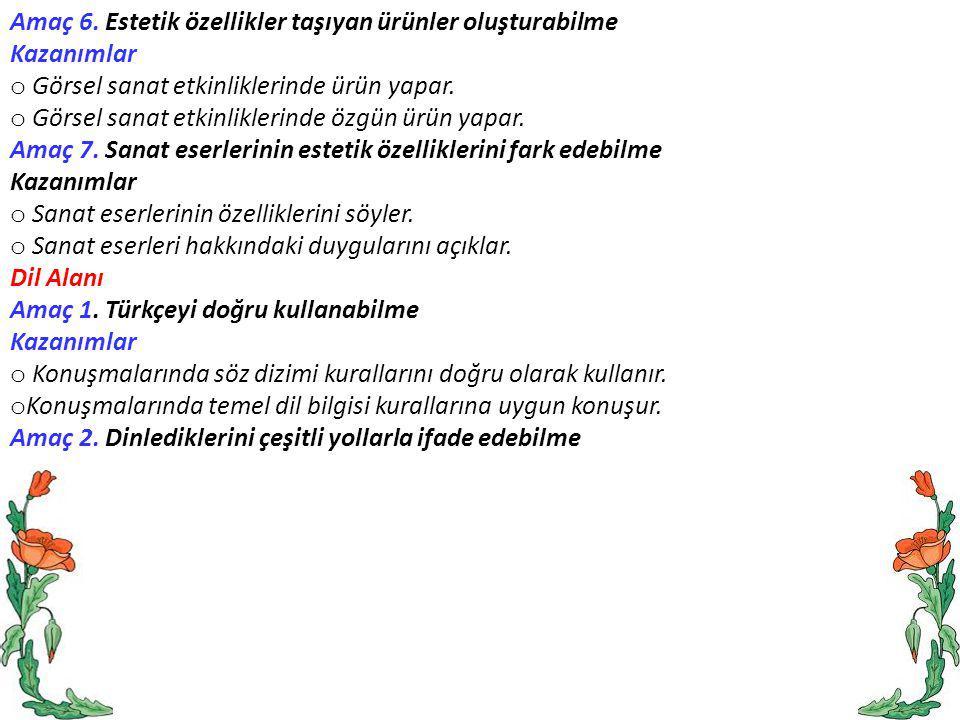 Amaç 6. Estetik özellikler taşıyan ürünler oluşturabilme