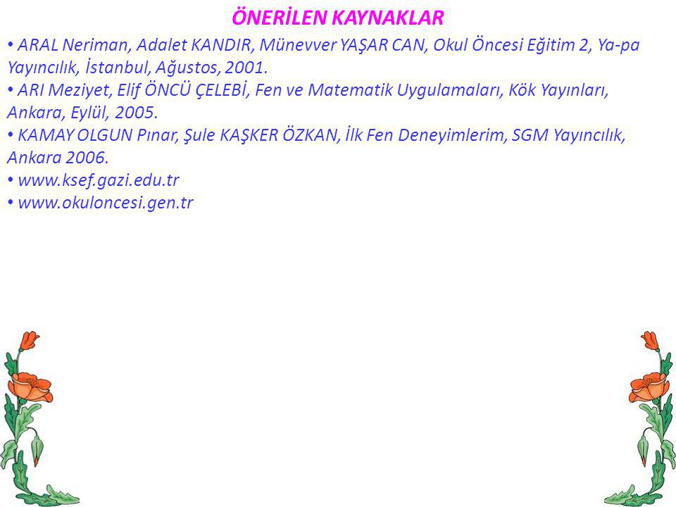 ÖNERİLEN KAYNAKLAR ARAL Neriman, Adalet KANDIR, Münevver YAŞAR CAN, Okul Öncesi Eğitim 2, Ya-pa Yayıncılık, İstanbul, Ağustos, 2001.