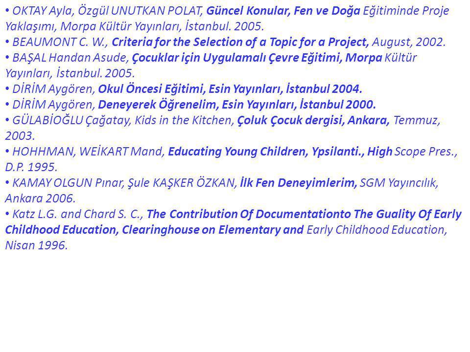 OKTAY Ayla, Özgül UNUTKAN POLAT, Güncel Konular, Fen ve Doğa Eğitiminde Proje Yaklaşımı, Morpa Kültür Yayınları, İstanbul. 2005.