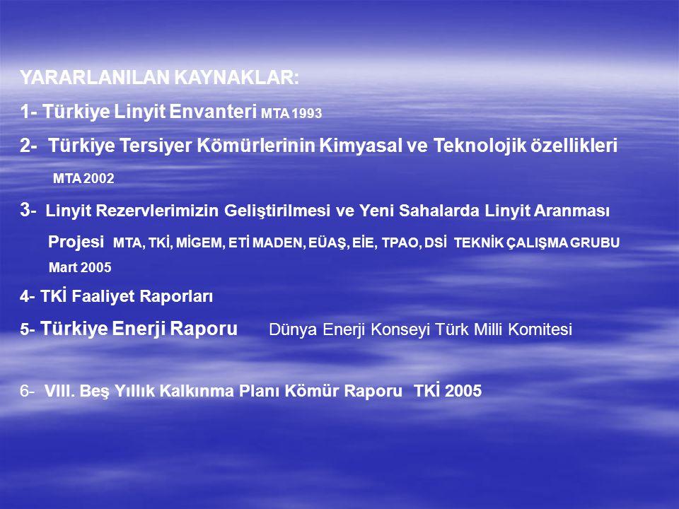 YARARLANILAN KAYNAKLAR: 1- Türkiye Linyit Envanteri MTA 1993