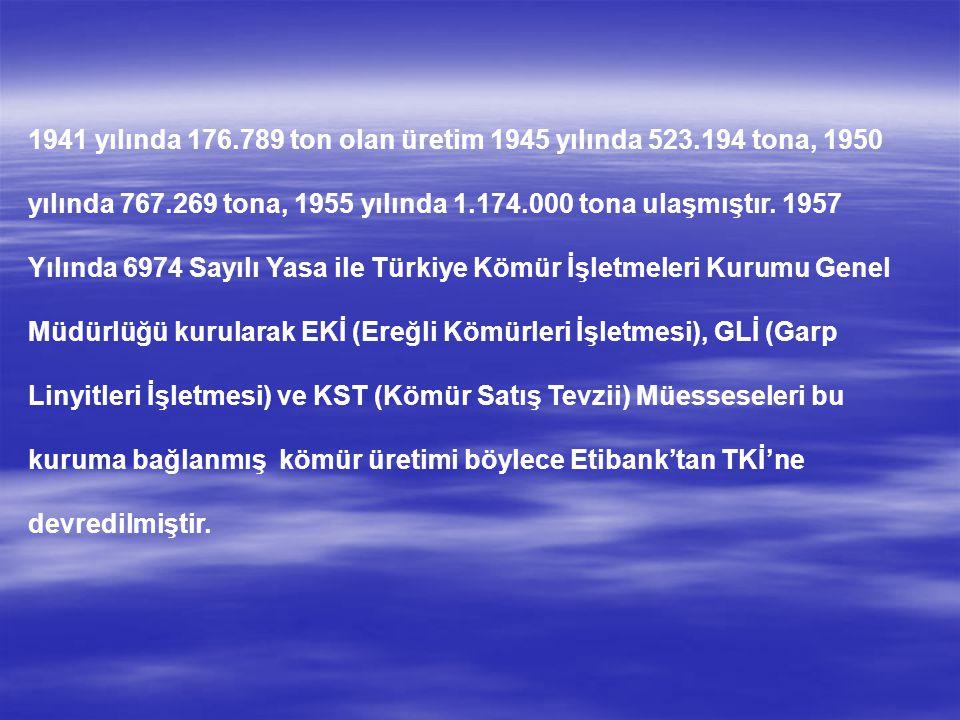 1941 yılında 176.789 ton olan üretim 1945 yılında 523.194 tona, 1950