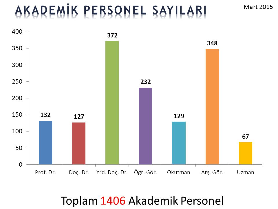 Toplam 1406 Akademik Personel