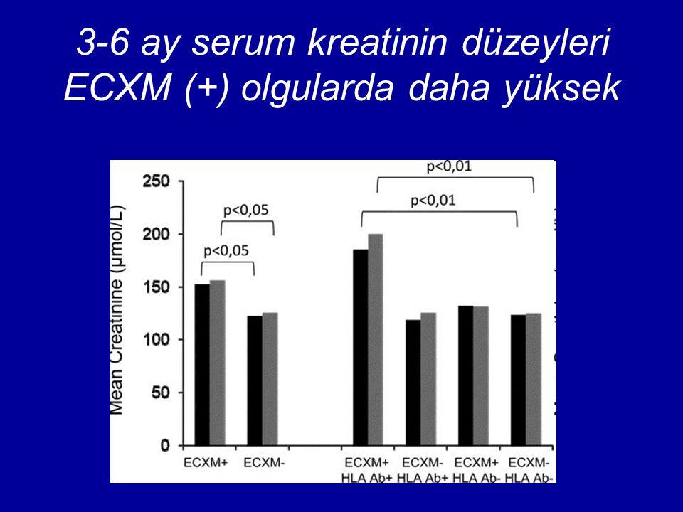 3-6 ay serum kreatinin düzeyleri ECXM (+) olgularda daha yüksek