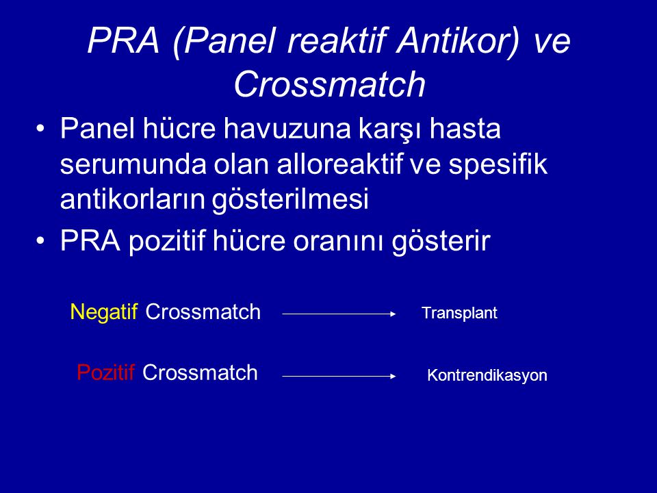 PRA (Panel reaktif Antikor) ve Crossmatch