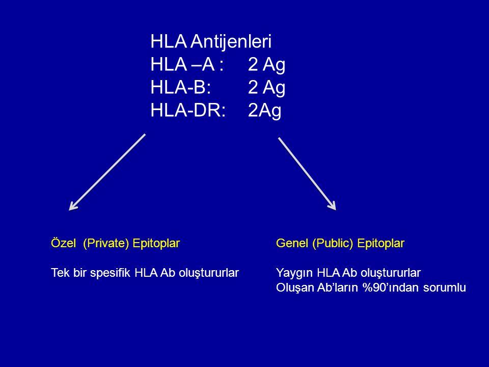 HLA Antijenleri HLA –A : 2 Ag HLA-B: 2 Ag HLA-DR: 2Ag