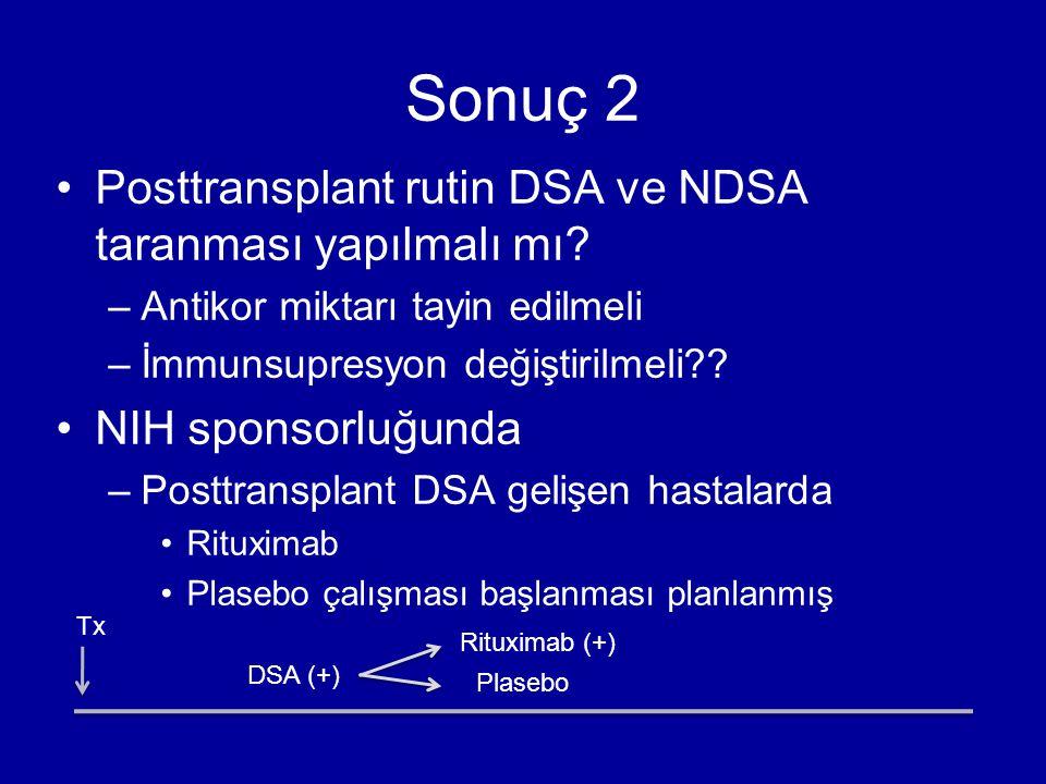 Sonuç 2 Posttransplant rutin DSA ve NDSA taranması yapılmalı mı