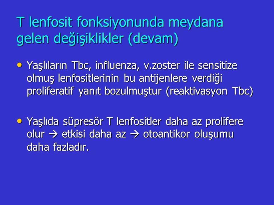 T lenfosit fonksiyonunda meydana gelen değişiklikler (devam)