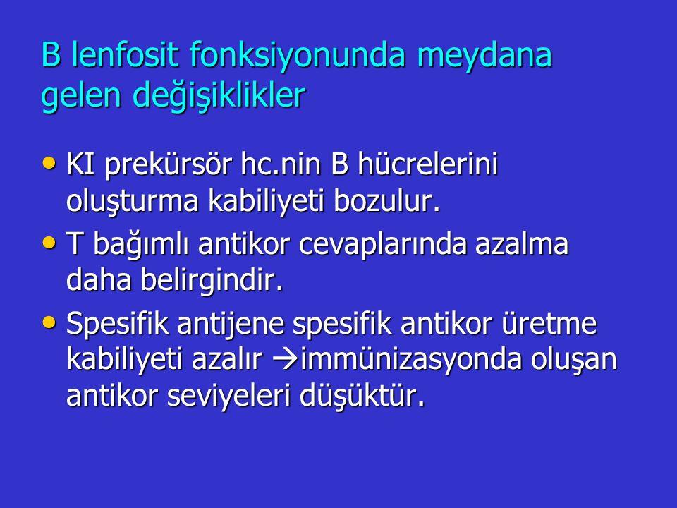 B lenfosit fonksiyonunda meydana gelen değişiklikler