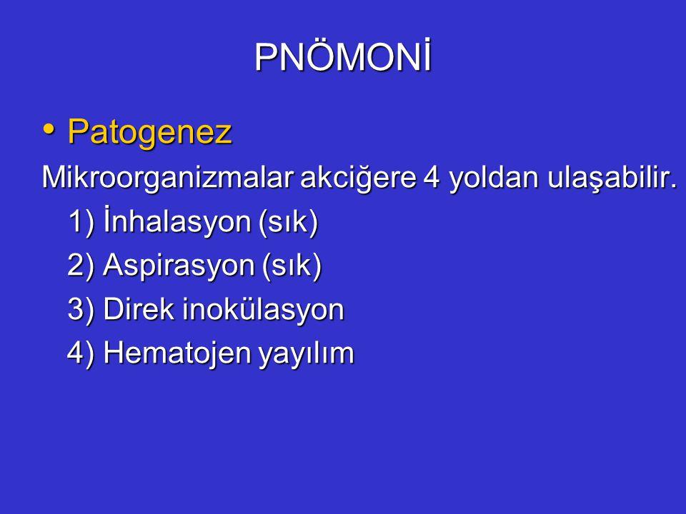 PNÖMONİ Patogenez Mikroorganizmalar akciğere 4 yoldan ulaşabilir.