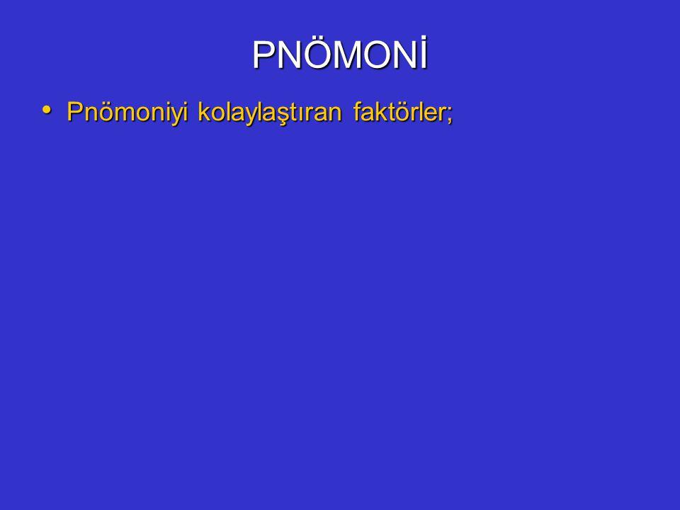 PNÖMONİ Pnömoniyi kolaylaştıran faktörler;