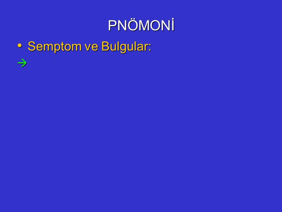PNÖMONİ Semptom ve Bulgular: 