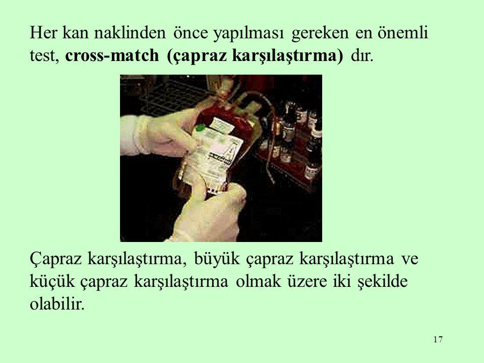 Her kan naklinden önce yapılması gereken en önemli test, cross-match (çapraz karşılaştırma) dır.