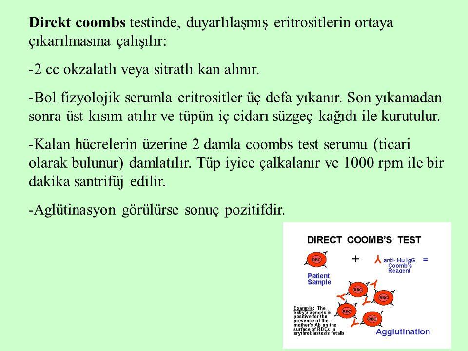 Direkt coombs testinde, duyarlılaşmış eritrositlerin ortaya çıkarılmasına çalışılır: