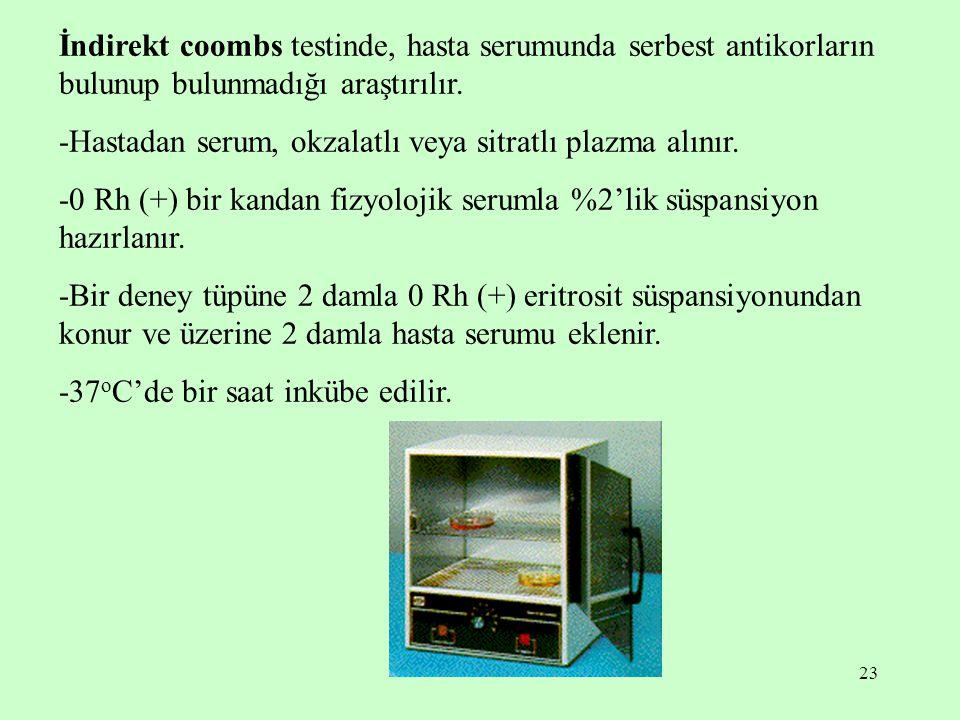 İndirekt coombs testinde, hasta serumunda serbest antikorların bulunup bulunmadığı araştırılır.