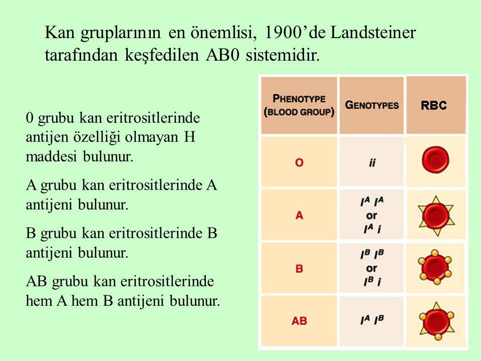Kan gruplarının en önemlisi, 1900'de Landsteiner tarafından keşfedilen AB0 sistemidir.