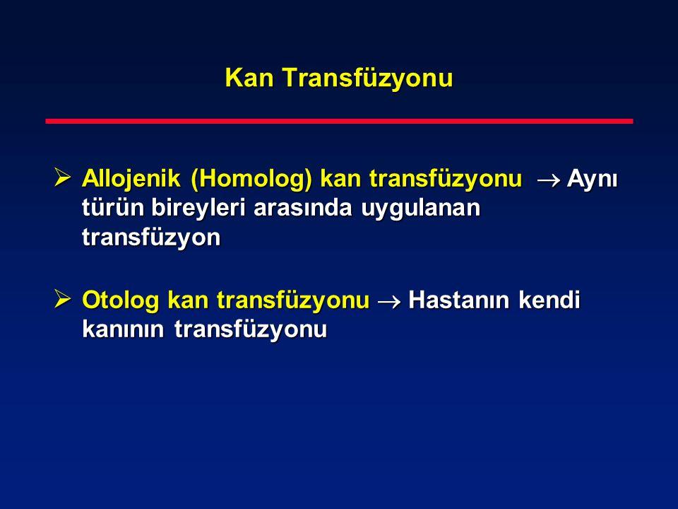 Kan Transfüzyonu Allojenik (Homolog) kan transfüzyonu  Aynı türün bireyleri arasında uygulanan transfüzyon.