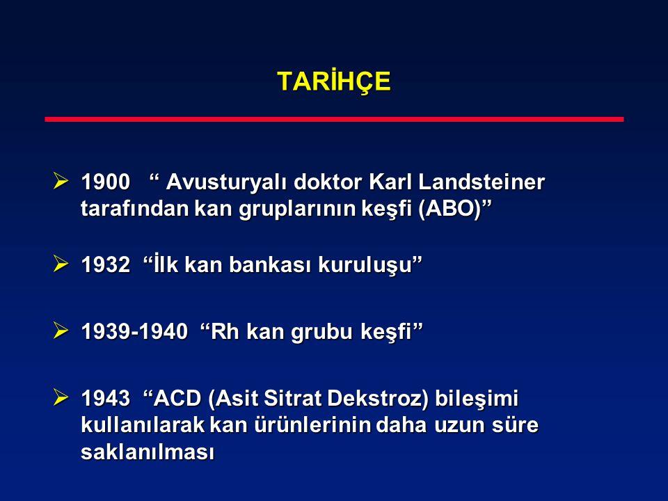 TARİHÇE 1900 Avusturyalı doktor Karl Landsteiner tarafından kan gruplarının keşfi (ABO) 1932 İlk kan bankası kuruluşu