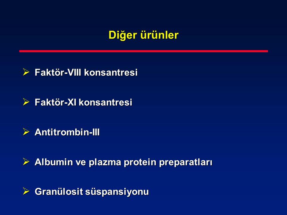 Diğer ürünler Faktör-VIII konsantresi Faktör-XI konsantresi