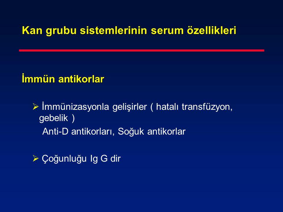 Kan grubu sistemlerinin serum özellikleri