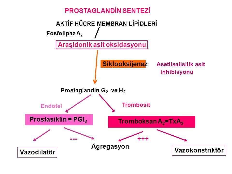 --- PROSTAGLANDİN SENTEZİ Araşidonik asit oksidasyonu Siklooksijenaz
