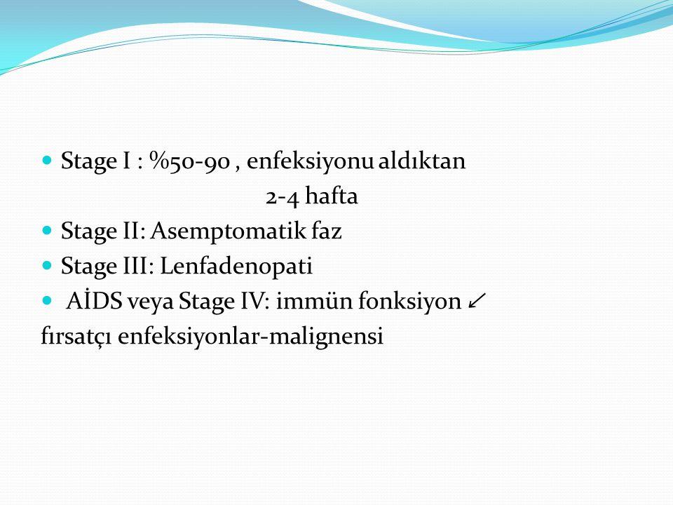 Stage I : %50-90 , enfeksiyonu aldıktan