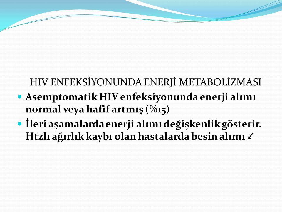 HIV ENFEKSİYONUNDA ENERJİ METABOLİZMASI. Asemptomatik HIV enfeksiyonunda enerji alımı normal veya hafif artmış (%15)