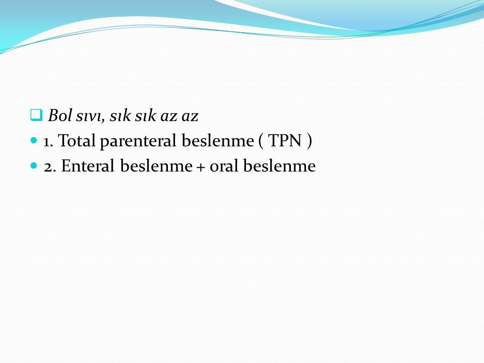 Bol sıvı, sık sık az az 1. Total parenteral beslenme ( TPN ) 2. Enteral beslenme + oral beslenme
