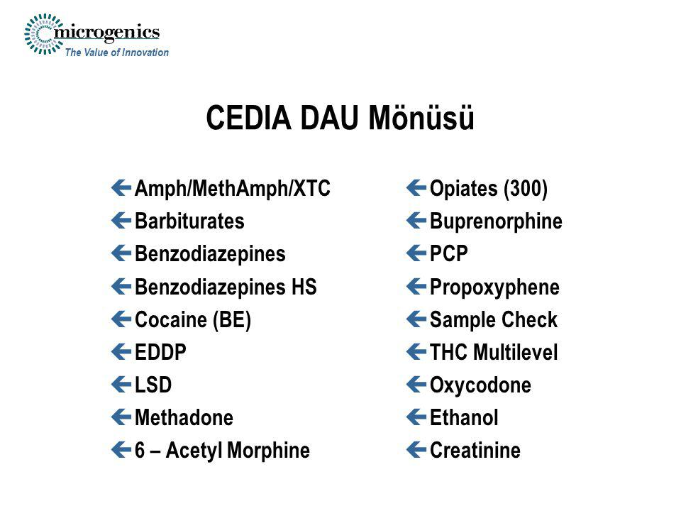 CEDIA DAU Mönüsü Amph/MethAmph/XTC Barbiturates Benzodiazepines